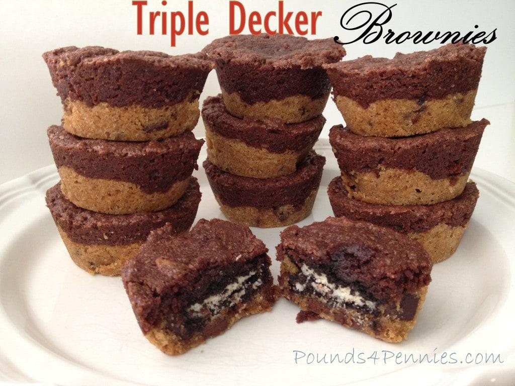 Triple Decker Chocolate Brownies