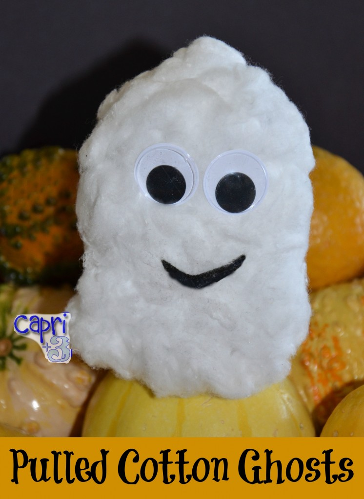 Simple Halloween Craft  pulled cotton ghost