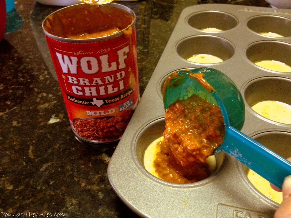 Pouring Chili in Muffin tins for Simple Meal Idea #ad