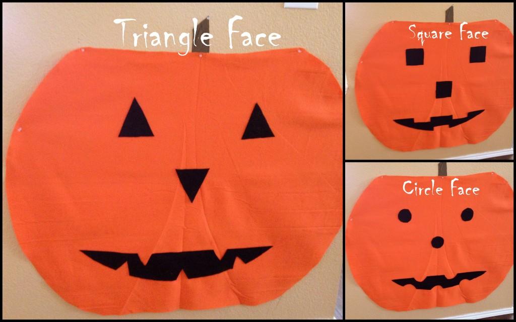 Different Shapes for felt Pumpkin Face Craft