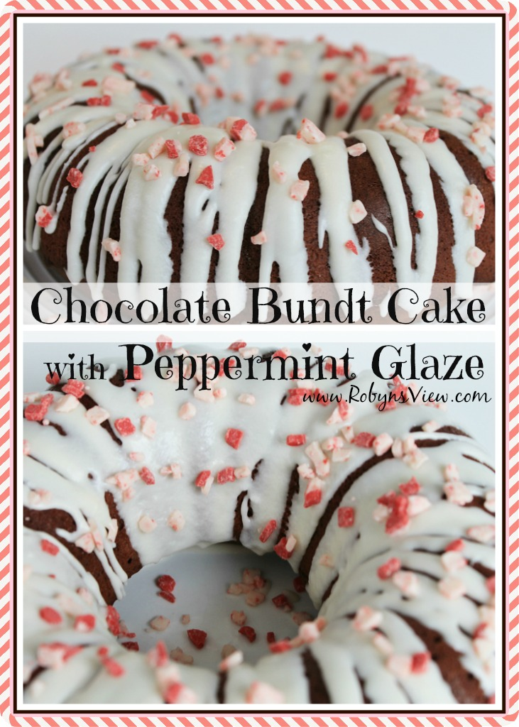 Chocolate Bundt Cake with Peppermint Glaze