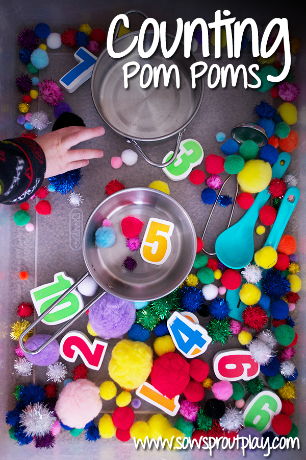Counting Pom Poms using rainbow colors