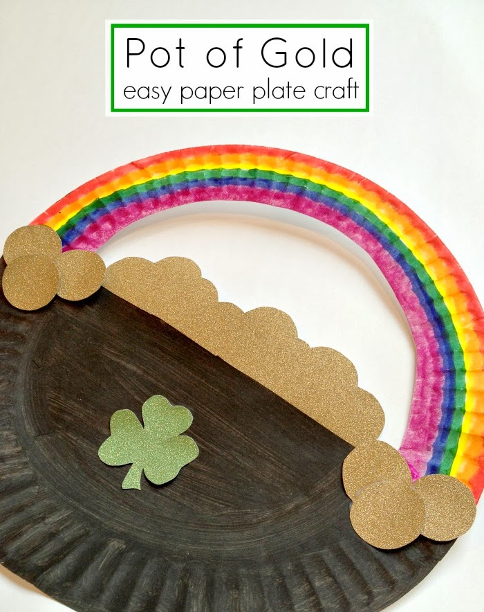 St Patricks Day Crafts Pot of Gold Paper Plate Craft